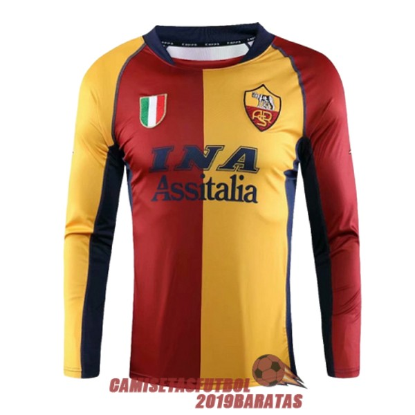 as roma rojo amarillo azul 2001 2002 camiseta manga larga retro champions league