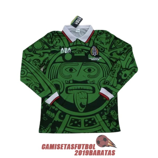 mexico 1998 camiseta manga larga retro primera